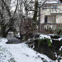 SS4836 : The river Caen passing by houses on Field Close in Braunton