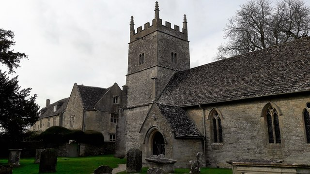 SU0195 : All Saints' church and Manor House, Somerford Keynes